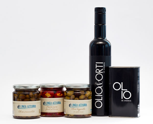 Prodotti i selezionati Linea Azzurra De Andreis Olio Olive Pomodori Peperoncini